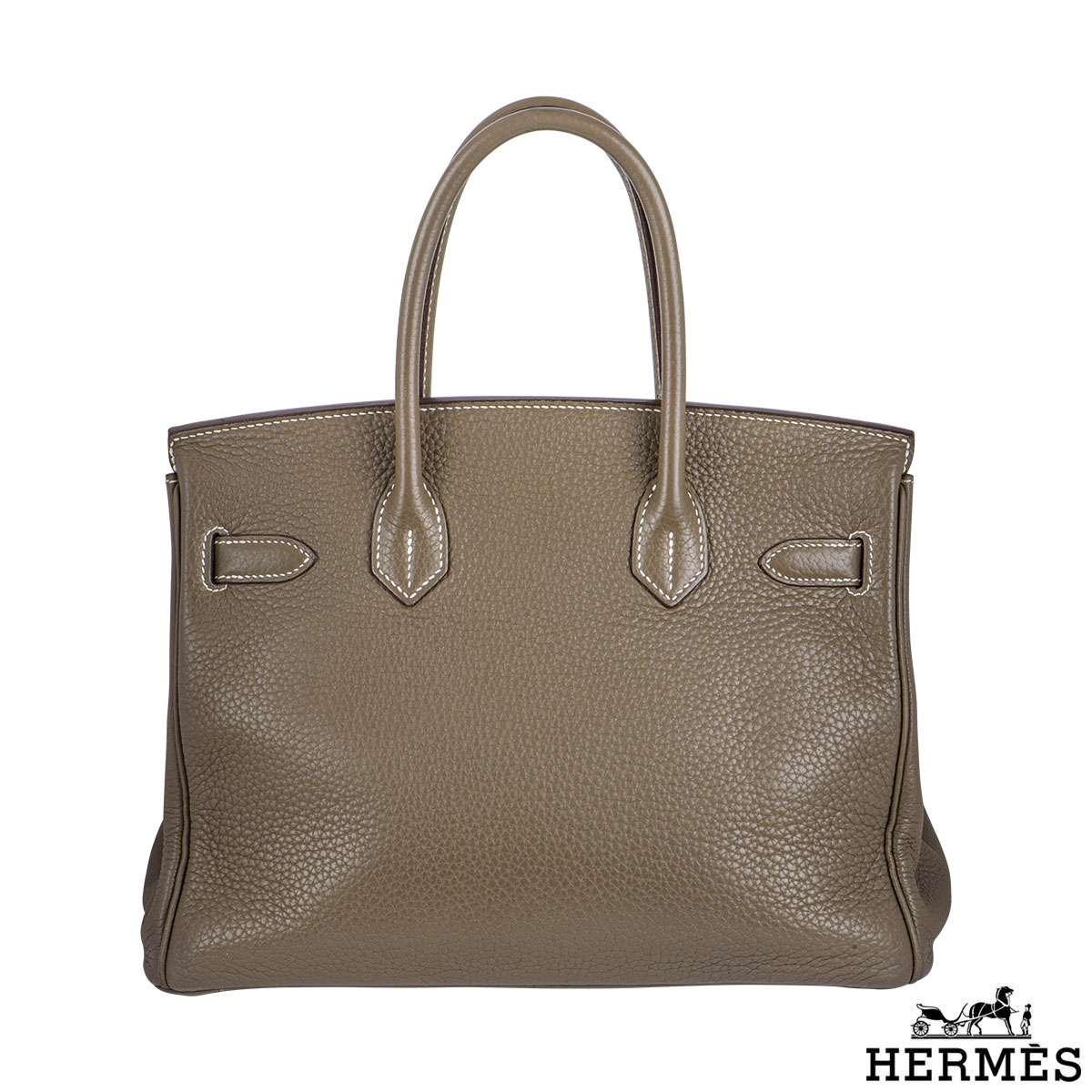 Hermes Birkin 30 cm Etoupe Togo Leather Handbag